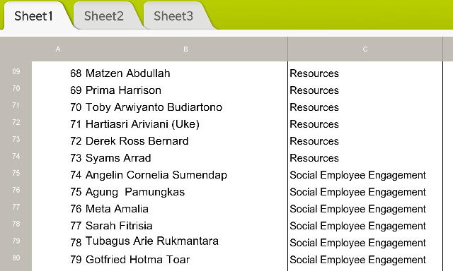 Contoh tampilan Excel yang dibuka dengan Docs To Go