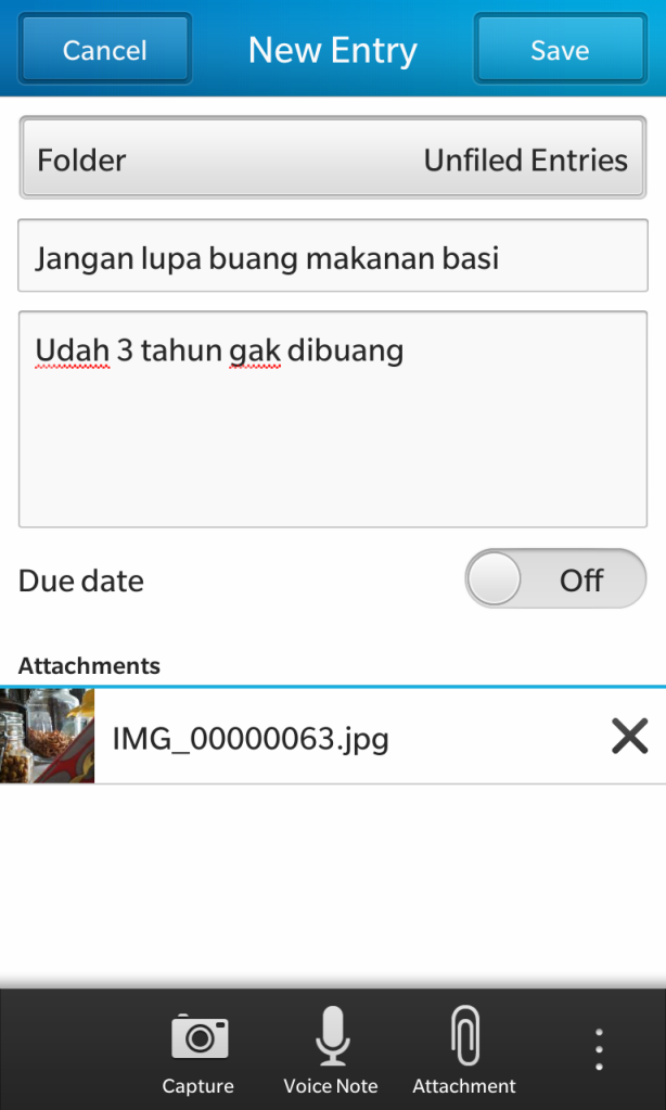 Contoh entry note di BlackBerry Remember yang multimedia