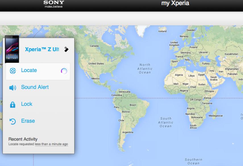 Layanan My Xperia yang bisa diakses dari web
