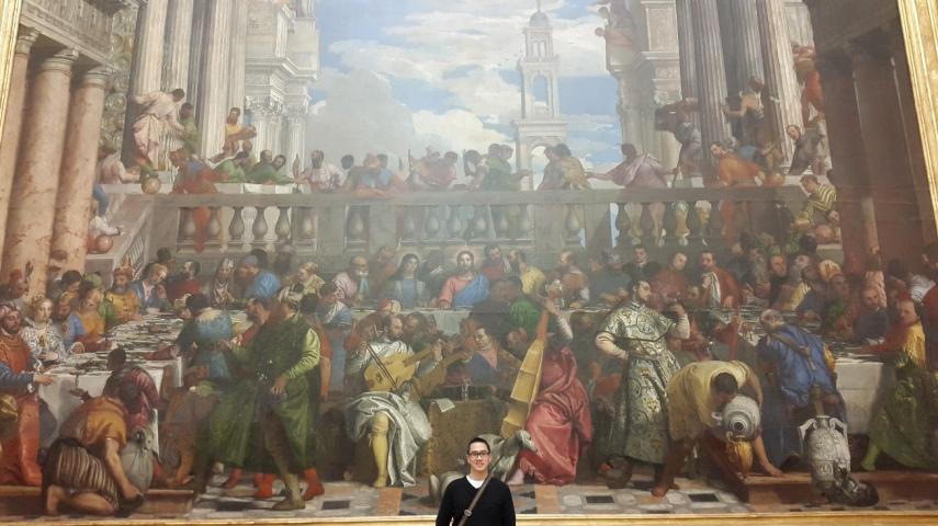 """Lukisan """"Yesus di Kana"""", perhatikan perbandingan gw dan besarnya lukisan"""